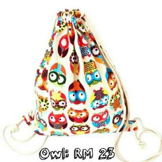Drawstring Bag Cute Owl
