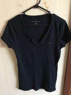 Tommy Hilfiger navy womens v neck tshirt