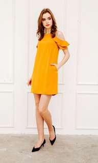 BNWT Orielle Ruffled Cold Shoulder Dress in Mustard (TSW)