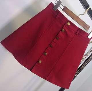 Red A-Line Denim Skirt button down maroon ulzzang uzzlang harajuku basic simple minimal trendy cute sexy kstyle