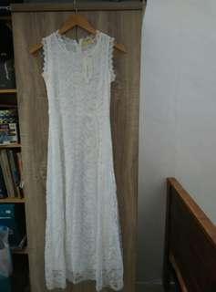 Dress, white lace long dress