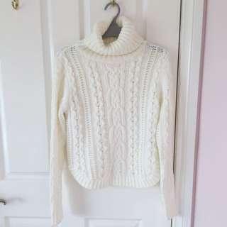 White Knit Turtleneck Sweater