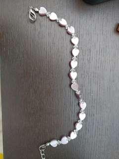 粉紫晶心型手鏈