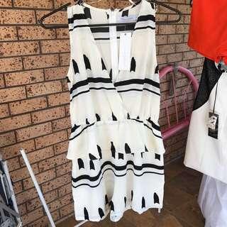 White Closet white and black Playsuit