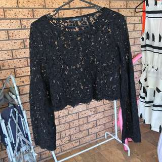 Glassons Black lace Top Size 10