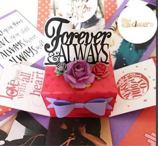 Red and purple 3 layers will you marry me Explosion Box card