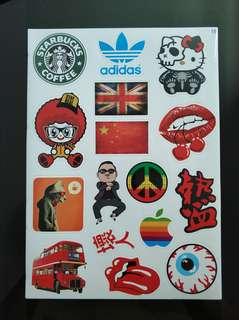 Stickerbomb stickers starbucks adidas peace rolling stone