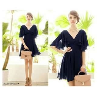 (Ready Stock) Women Short Sleeve Sexy Deep V-neck Dress