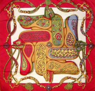 """Authentic Hermes 100% Silk Scarf """"Festival"""" by Henri d'Origny, 35"""" - Mint condition with box!"""