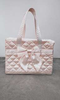 Naraya Quilted Ribbon Hand Carry (Satin off White)