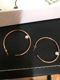 🚚 玫瑰金 珍珠 圈圈 耳環