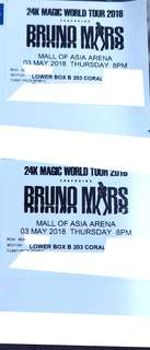 Bruno Mars May 3  - 2 Tickets Lower Box B