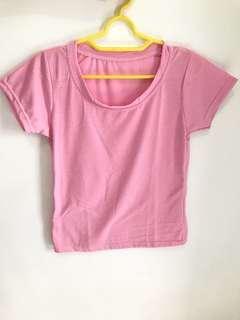Kaos O neck Wanita Pink