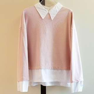 粉紅色白領假兩件長袖上衣