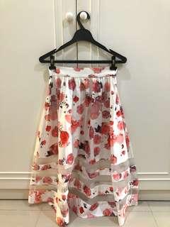 Mid Length Floral Skirt