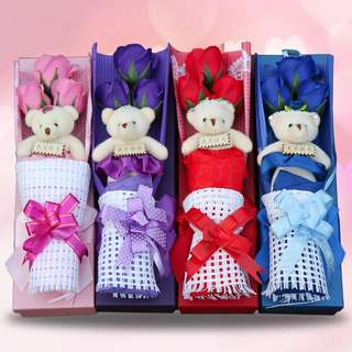 Soap Roses with bear in a box