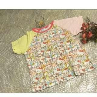SANRIO HELL0 KlTTY 夏天 女童 小孩 兒童 短袖  尺寸120