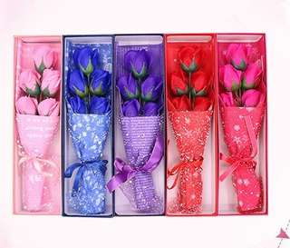 Roses in a box - artificial soap flowers gift mother's day