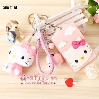 Hello Kitty Hard Acrylic Bus Card Holder Bell Keychain Holder With HK Toy Figure SET B