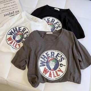 Ulzzang Printed Round Neck Short Sleeve Tshirt