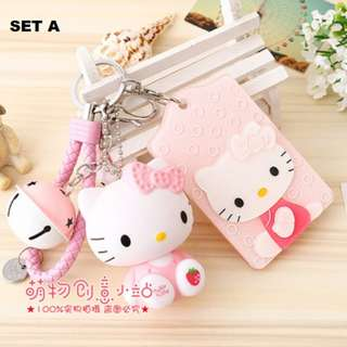 Hello Kitty Hard Acrylic Bus Card Holder Bell Keychain Holder With HK Toy Figure SET A