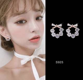 [PO] Korean Floral Ribbon Rose Gold / Silver Earrings