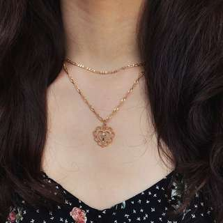 Gold Double Layer Heart Cross Necklace *INSTOCK*