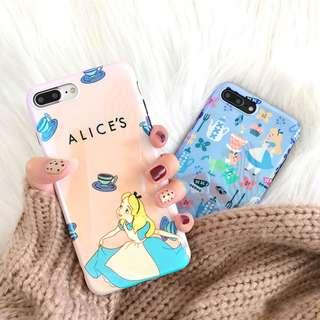 藍光愛麗絲夢遊仙境手機殼蘋果6s/8/iPhoneX/7plus軟殼