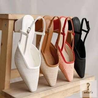 🚚 Korea👡 韓系復古編織尖頭氣質涼鞋