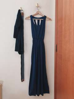 Caged Cut Out Maxi Dress In Navy