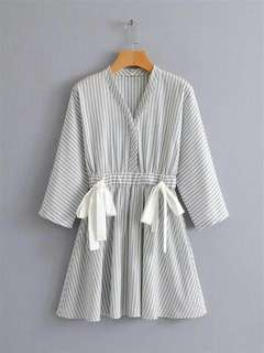 White Stripe Bow Waist Dress