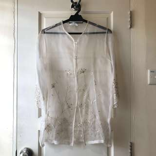 Embroidered Organza Top