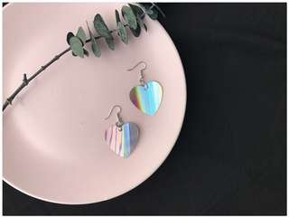 Holographic Heart Earrings