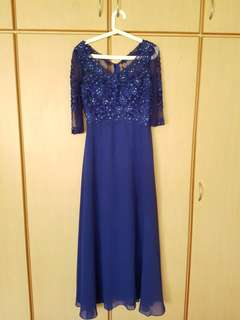 Blue gown with front floral pattern