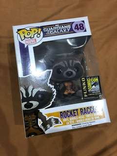 SALE! Pop Funko Rocket Raccoon Flocked SDCC Exclusive Guardians Of the Galaxy