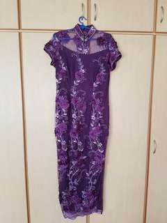 Purple Cheong Sam with floral lace pattern
