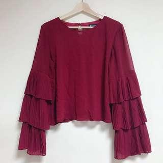 🚚 全新酒紅雪紡紗喇叭袖百褶上衣|Janet Style