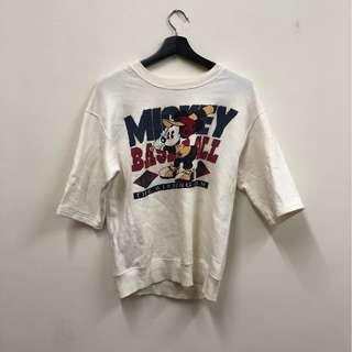 🚚 白色 米奇圖案 迪士尼 七分袖 上衣 Tshirt 古著 二手