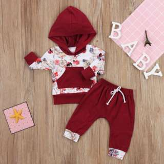 Newborn Kids Baby Girls Floral Clothes Hoodies Tops T shirt Long Pants Outfits B