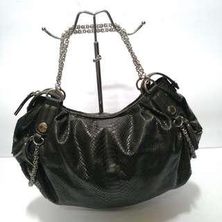 Staccato Black Leather Shoulder Bag: Sale