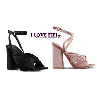 限時低價高質感超美絲絨超穩粗跟高跟鞋 粉紅黑SLY MOUSSY