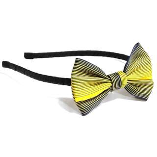 Handmade Korean Style Yellow Navy Blue Stripe Line Hair Bow Headband