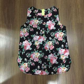 Floral Black Sleeveless Top