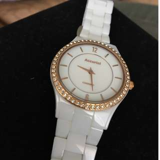 Accurist Ladies Rose Gold White Ceramic Bracelet Watch