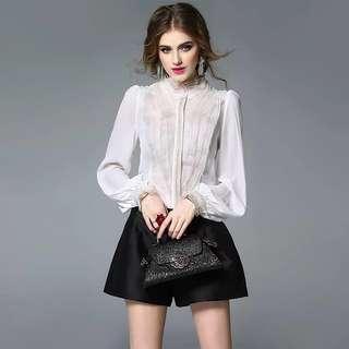 Silk blended beaded front Long sleeve white blouse shirt top