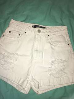 White Factorie Distressed Shorts