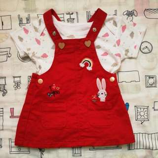 MIKI BABY Overall Dress Red (0-6 Months)