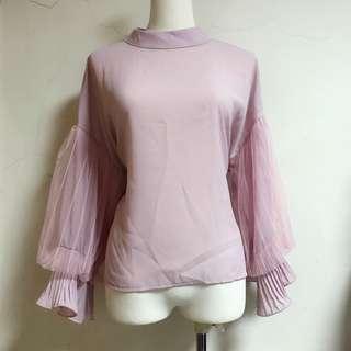🚚 全新粉紅雪紡紗公主泡泡袖上衣|Janet Style