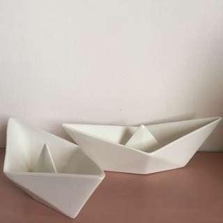 Porcelain origami boat (set of 2)