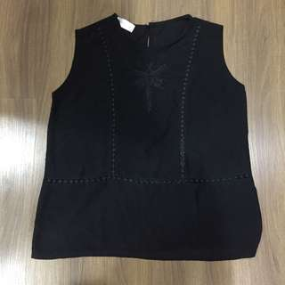 Sheer Black Sleeveless Top with Cutout